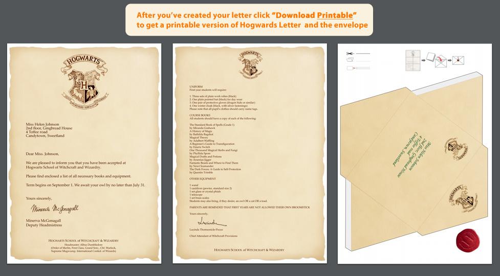 harry potter envelope template pdf