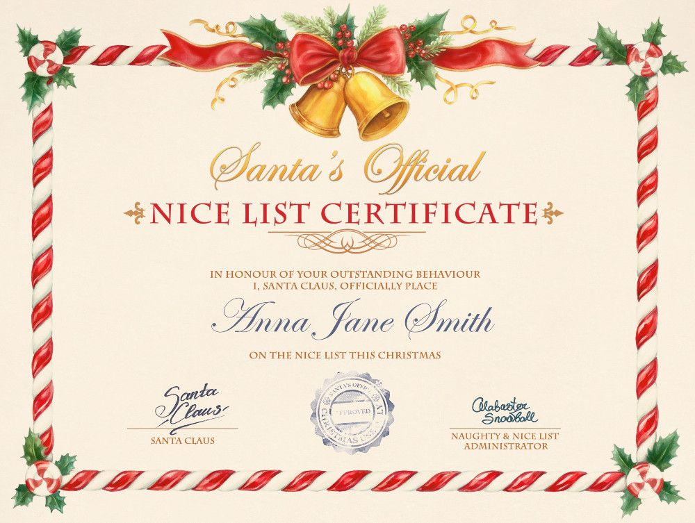 Christmas Certificate.Nice List Certificate Photofunia Free Photo Effects And